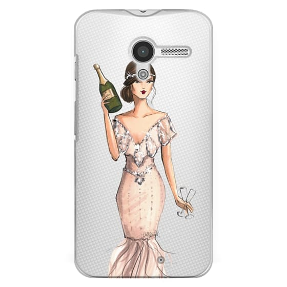 Moto X Cases - I'll Bring the Bubbly (Champagne Girl, Fashion Illustration Clear Case)