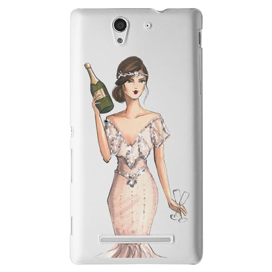 Sony C3 Cases - I'll Bring the Bubbly (Champagne Girl, Fashion Illustration Clear Case)