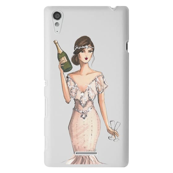 Sony T3 Cases - I'll Bring the Bubbly (Champagne Girl, Fashion Illustration Clear Case)