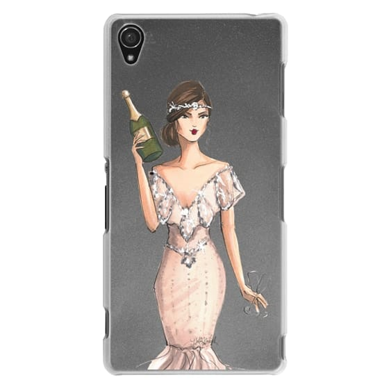 Sony Z3 Cases - I'll Bring the Bubbly (Champagne Girl, Fashion Illustration Clear Case)