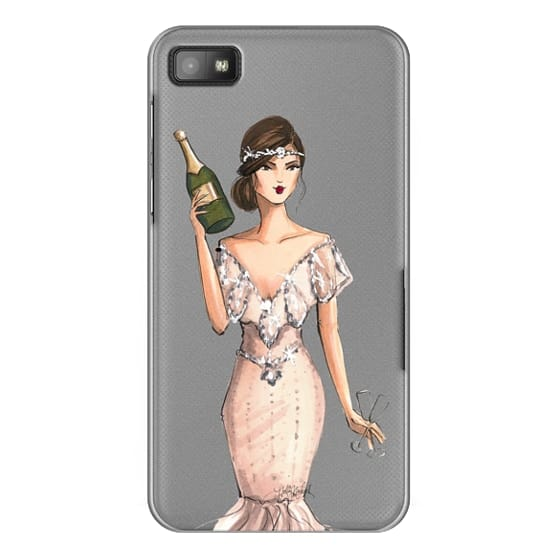 Blackberry Z10 Cases - I'll Bring the Bubbly (Champagne Girl, Fashion Illustration Clear Case)