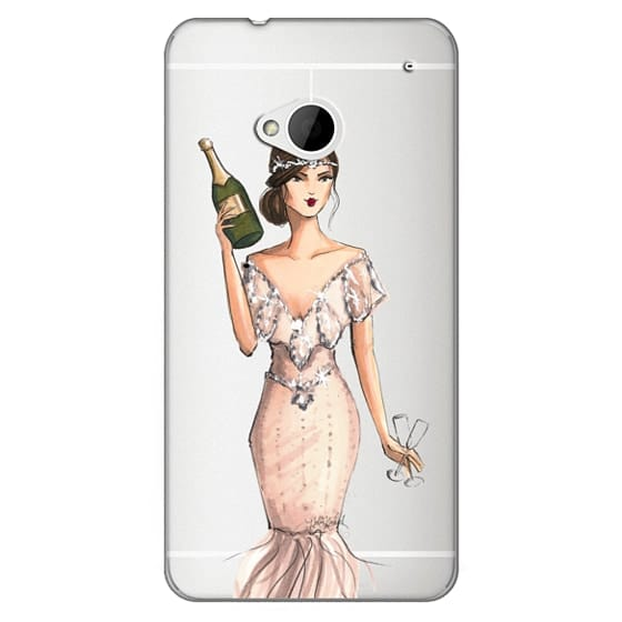 Htc One Cases - I'll Bring the Bubbly (Champagne Girl, Fashion Illustration Clear Case)