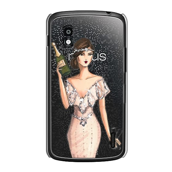 Nexus 4 Cases - I'll Bring the Bubbly (Champagne Girl, Fashion Illustration Clear Case)