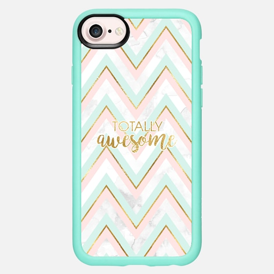 Totally Awesome - Marble, Gold, Mint and Pink - Classic Grip Case