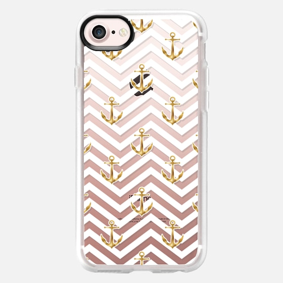 Gold Anchors on Chevron Pattern - Classic Grip Case