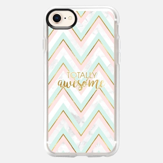 Totally Awesome - Marble, Gold, Mint and Pink - Snap Case