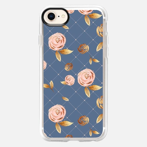 Blush Gold and Navy Floral Pattern - Snap Case