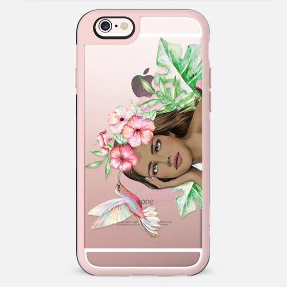 Tahitian Girl with Hibiscus Flowers and Hummingbird - Horizontal Version