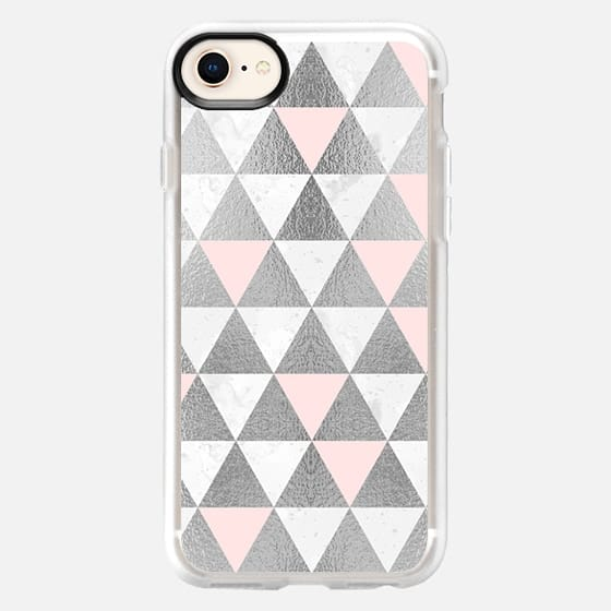 Marble Silver and Pink Triangles Pattern - Snap Case