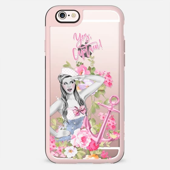 Yes Captain - Nautical Fashion Girl with Pink Anchor and Flowers - New Standard Case