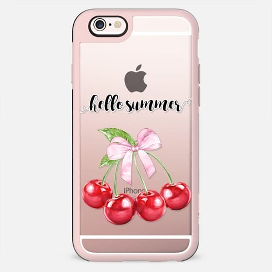 Hello Summer Cute Red Cherry Bunch with Pink Bow Sweet Cherries Cute Fruits