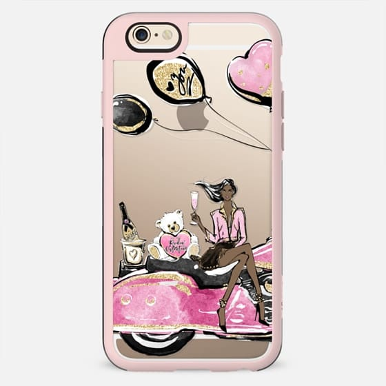 Single Lady Valentines Day Party Pink Harley Davidson Transparent Case Dark Skin Girl Boss