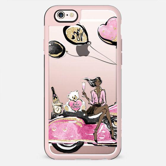 Single Lady Valentines Day Party Pink Harley Davidson Transparent Case Dark Skin Girl Boss - New Standard Case