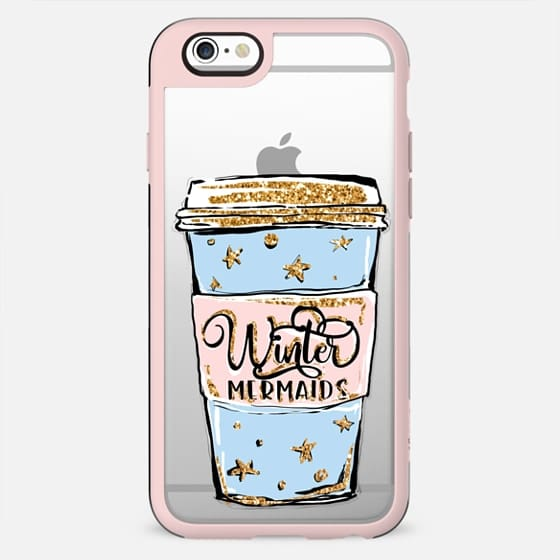 Winter Mermaids Blue Coffee Cup | Fashion Illustration Transparent Background Clear Case