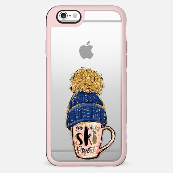 Eat, Sleep, SKI, Repeat | Winter Sports Fashion Illustrations Transparent Case Collection - New Standard Case