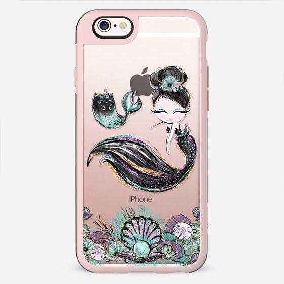 Audre Hepburn Style Mermaid with her MerCat Pet | Light Skin Girl Transparent Case - New Standard Case
