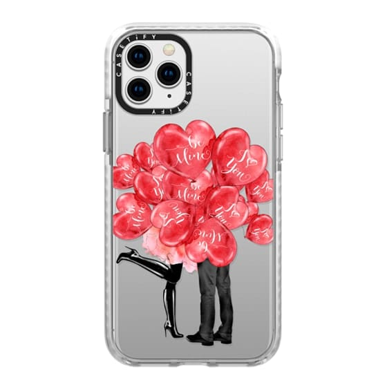 iPhone 11 Pro Cases - Valentines Day Illustration In Love Cute Red Heart Balloons Love Couple Kiss