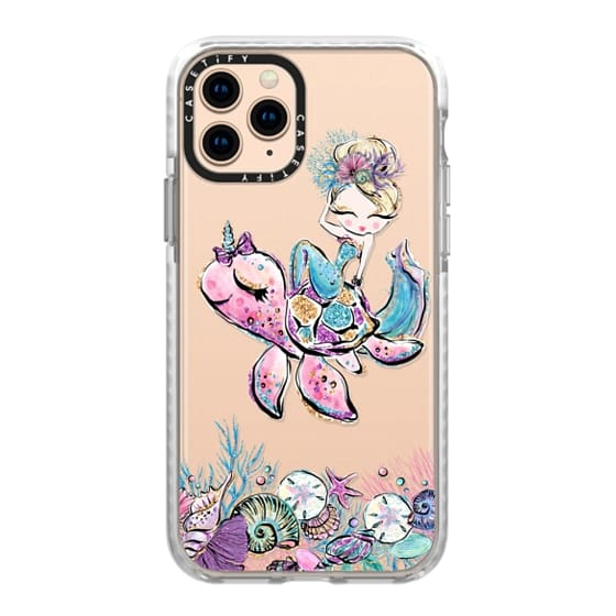iPhone 11 Pro Cases - A Cute Mermaid with Her Sea Turtle Unicorn | Sea Pets Transparent Cases