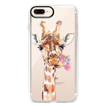 Grip iPhone 8 Plus Case - Giraffe with Flowers