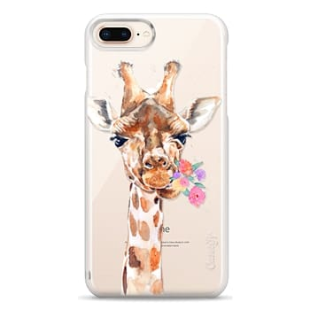 Snap iPhone 8 Plus Case - Giraffe with Flowers