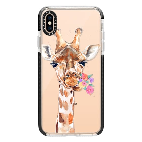 iPhone XS Max Cases - Giraffe with Flowers