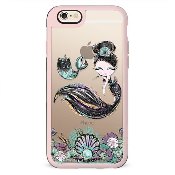 Audre Hepburn Style Mermaid with her MerCat Pet | Light Skin Girl Transparent Case