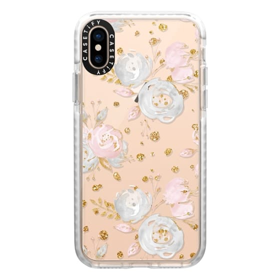 iPhone XS Cases - Blush Peonies Wedding Flowers Romantic Spring Pattern