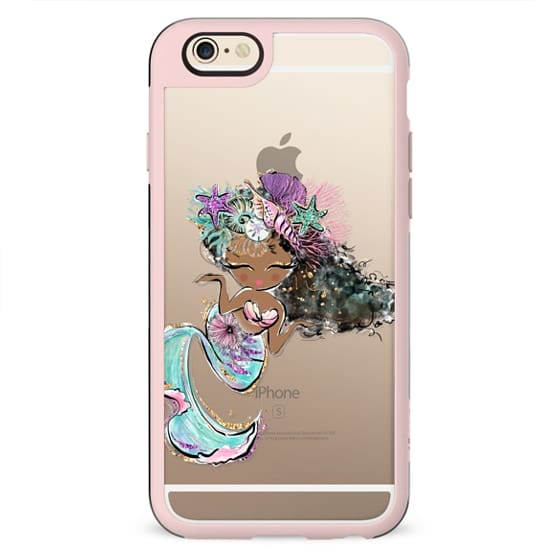 Black Pearl Mermaid | Transparent Background Clear Case