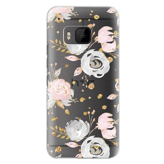 Htc One M9 Cases - Blush Peonies Wedding Flowers Romantic Spring Pattern