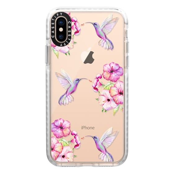 iPhone XS Cases - Tropical Birds and Flowers