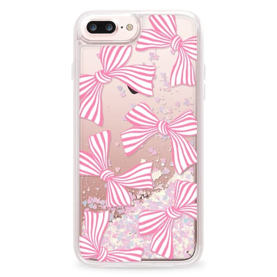 iPhone 7 Plus Cases - Pink Striped Bows