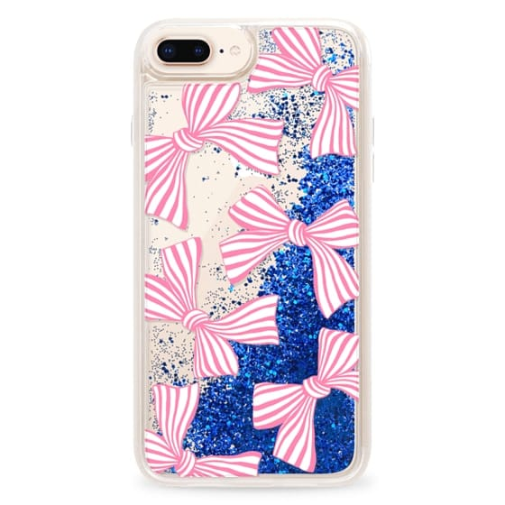 iPhone 8 Plus Cases - Pink Striped Bows