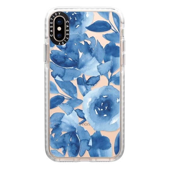 iPhone XS Cases - Blue Watercolor Flowers