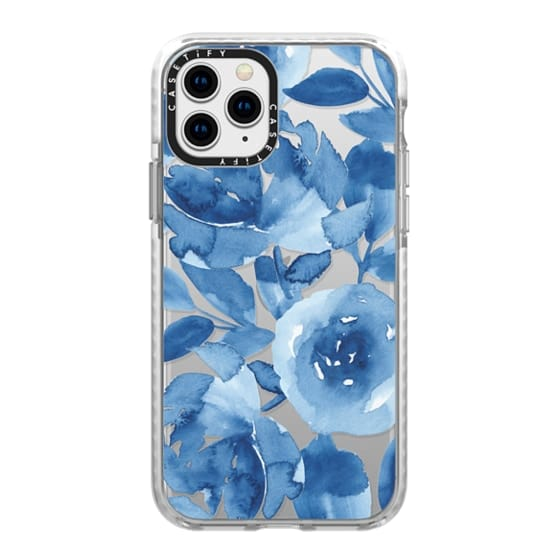 iPhone 11 Pro Cases - Blue Watercolor Flowers
