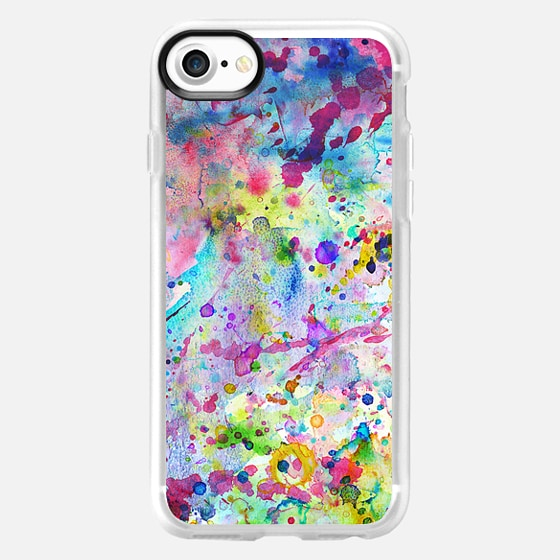 Abstract Bright Watercolor Paint Splatters Pattern - Wallet Case