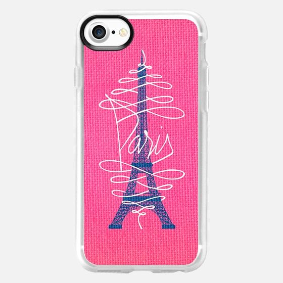 Girly Eiffel Tower Pink Whimsical Paris Typography -