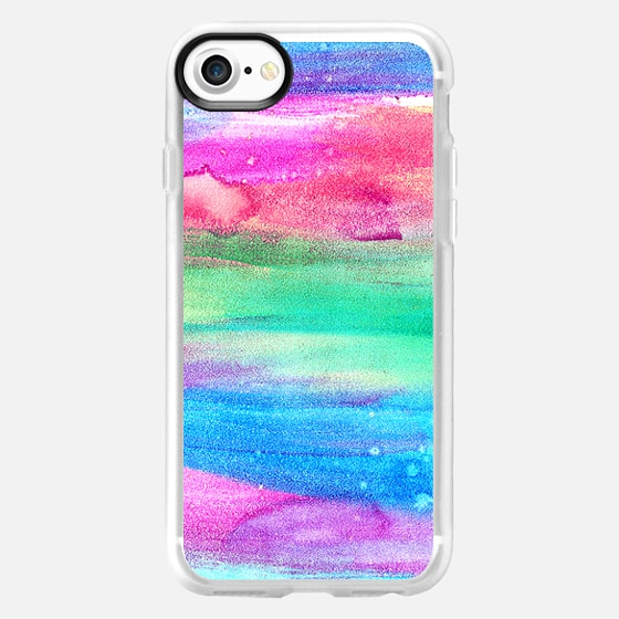 Neon Rainbow Abstract Watercolor Stripes - Wallet Case