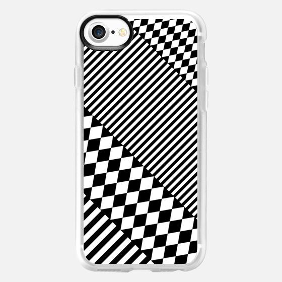 Stylish Black White Geometric Patterns Monochrome - Wallet Case