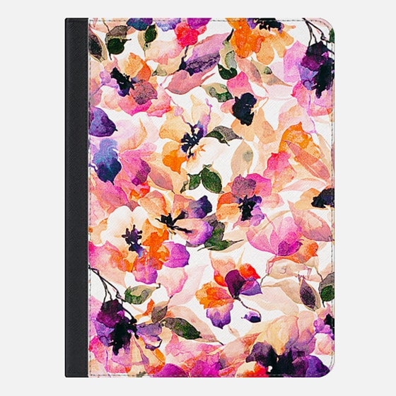 Chic Floral Pattern Pink Orange Pastel Watercolor