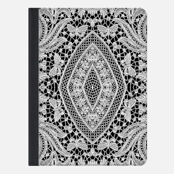 Elegant Black White Floral Lace Damask Pattern