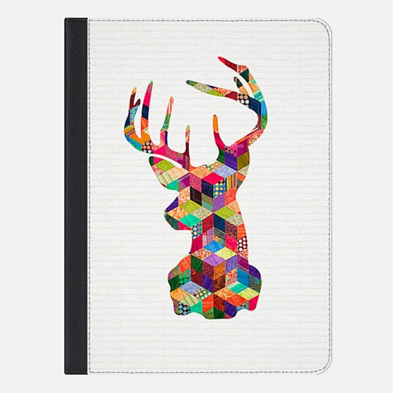 Hipster Vintage Deer Head Patchwork Stripes