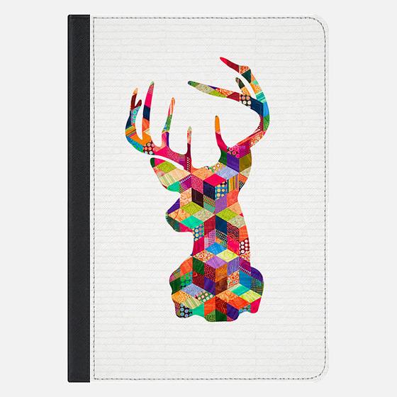 Hipster Vintage Deer Head Patchwork Stripes