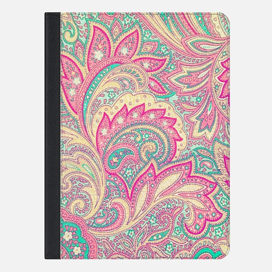 Pink Turquoise Girly Chic Floral Paisley Pattern