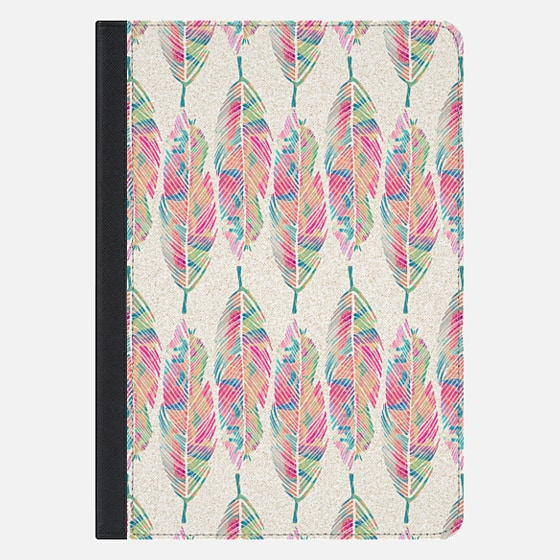 Tribal Feathers Girly Pink Teal Watercolor Pattern