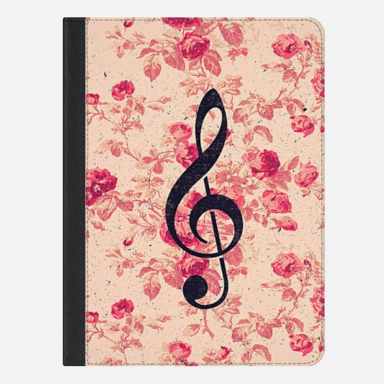 Vintage Music Note Treble Clef Chic Pink Flowers