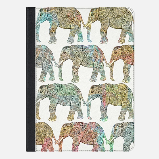Whimsical Ethnic Floral Paisley Elephants Pattern