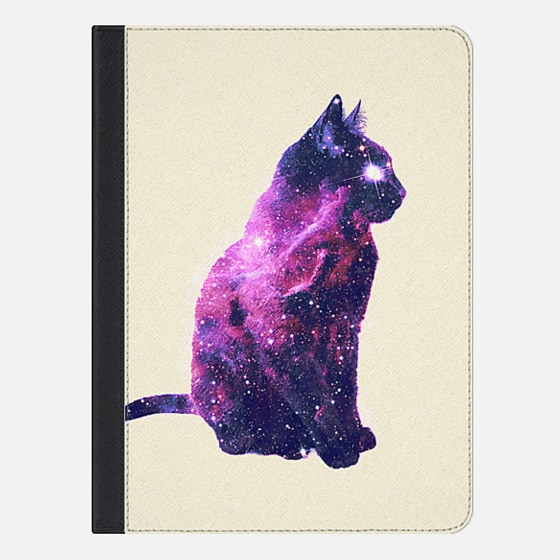 Whimsical Purple Nebula Cat Pink Galaxy Stars