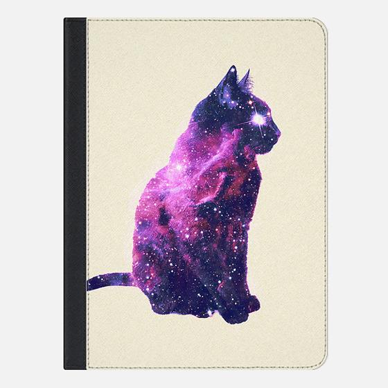 Whimsical Purple Nebula Cat Pink Galaxy Stars