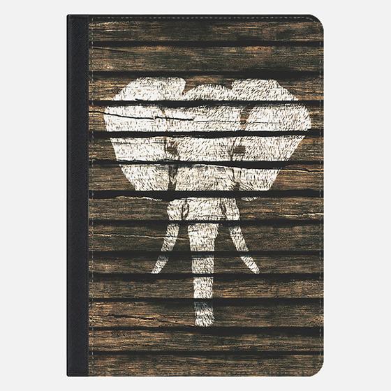 Whimsical White Elephant Vintage Brown Stripe Wood