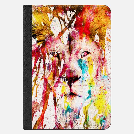 Wild Lion Sketch Abstract Watercolor Splatters